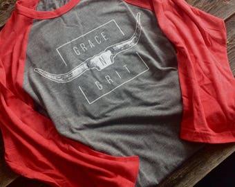 Baseball shirt-Grey/red sleeves
