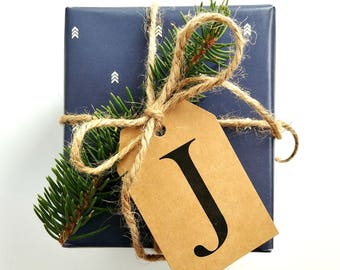 10 PACK // CUSTOMIZABLE Gift Tags, Christmas Gift Tags, Personalizable Gift Tags, Kraft Gift Tags, Initial Gift Tags