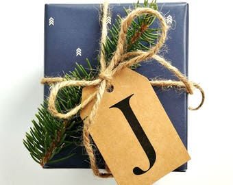 8 PACK // CUSTOMIZABLE Gift Tags, Christmas Gift Tags, Personalizable Gift Tags, Kraft Gift Tags, Initial Gift Tags