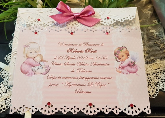 personalized baptism invitation with free press etsy