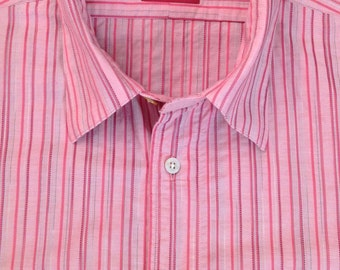 Vintage Ozwald Boateng pink with red striped casual short sleeved shirt in 100% cotton