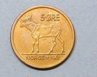 Norway 1 ore 1966 cute squirrel  unc from a roll