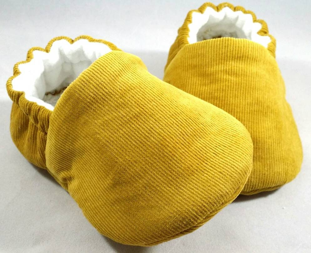 876abb6966e38 Mustard Corduroy baby booties / handmade / baby shoes /Gender Neutral /  Love-bug by B.Elise/baby girl / baby boy