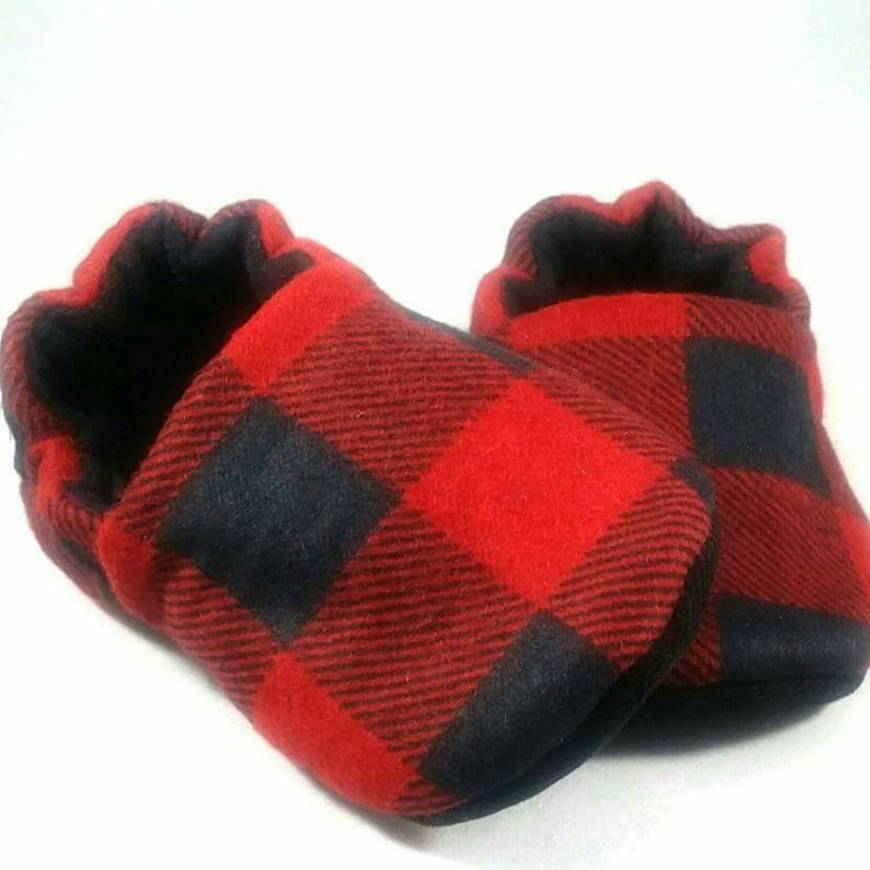 7982cfb08a5ef Buffalo Plaid (Red) Baby Booties: Baby shoes / Gender Neutral / baby boy /  baby girl / newborn / plaid / toddler shoes / baby slippers