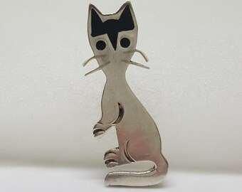 Vintage Sterling .925 Silver Retro Black Enamel Inlay Cat Pin