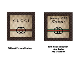 """GUCCI Logo Black and tan Printable Instant Downloadable 3"""" square Labels stickers tags Birthday Party Favors PDF Digital Download #1"""