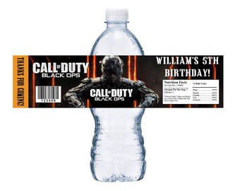 Call of duty Black Ops Printable Downloadable Water Bottle Labels Wrappers Birthday Party Favors EMAIL PDF Digital Download