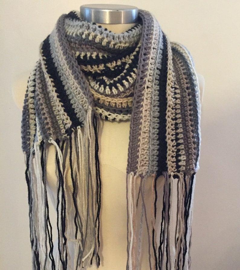 bcb2fbec9ba8 Chunky Crochet Long foulard rayé écharpe oversize écharpe