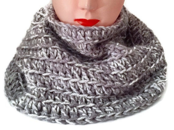 Dicker grauer Schal häkeln sperrige Kreis Schal Schal | Etsy