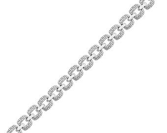 1/2 CT. T.W. Diamond Link Bracelet in White Gold, 10k Gold Chain Bracelet For Women