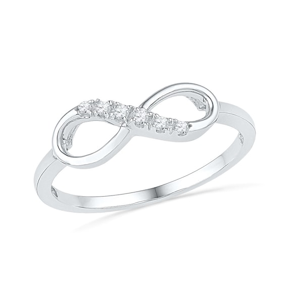 b8296b8add Womens Promise Ring 10k White Gold Infinity Band or Sterling   Etsy