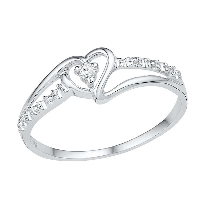 738a549906ef2d White Gold Promise Ring Diamond Heart Ring in 10k Gold | Etsy
