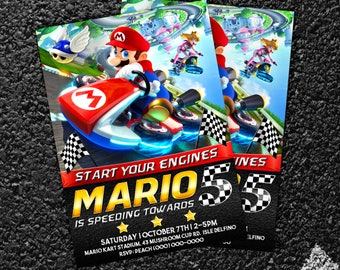 Custom Mario Kart Birthday Invitation - 5x7 or 4x6