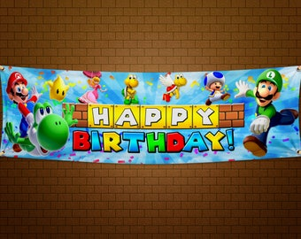 Super Mario Bros Happy Birthday Banner - 6x2