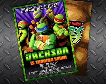 Custom Teenage Mutant Ninja Turtles Birthday Invitation - 5x7 or 4x6