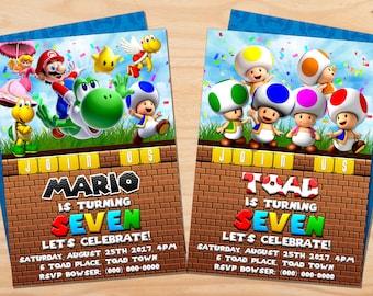 Custom Super Mario Bros and Friends // Toad Birthday Invitation - 5x7 or 4x6