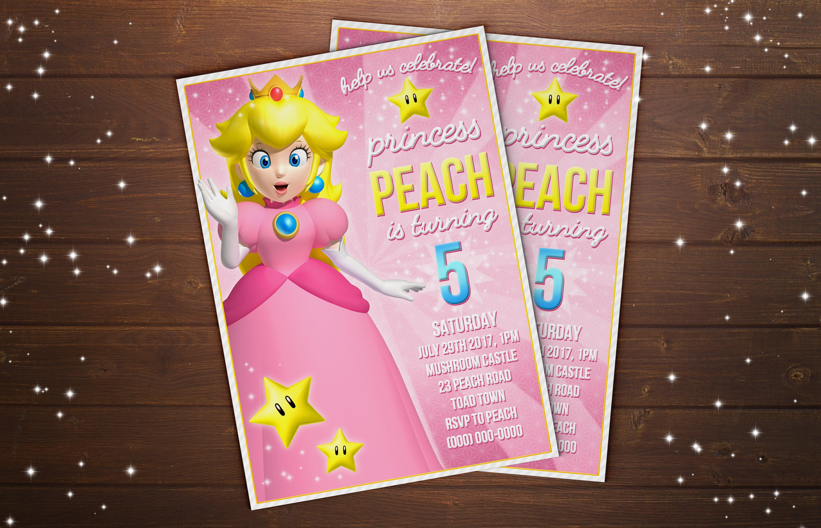 Custom Princess Peach Super Mario Bros Birthday Party
