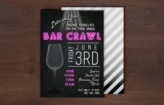 Custom Bar Crawl Event Invitation Digital Printable Or E Vite Etsy