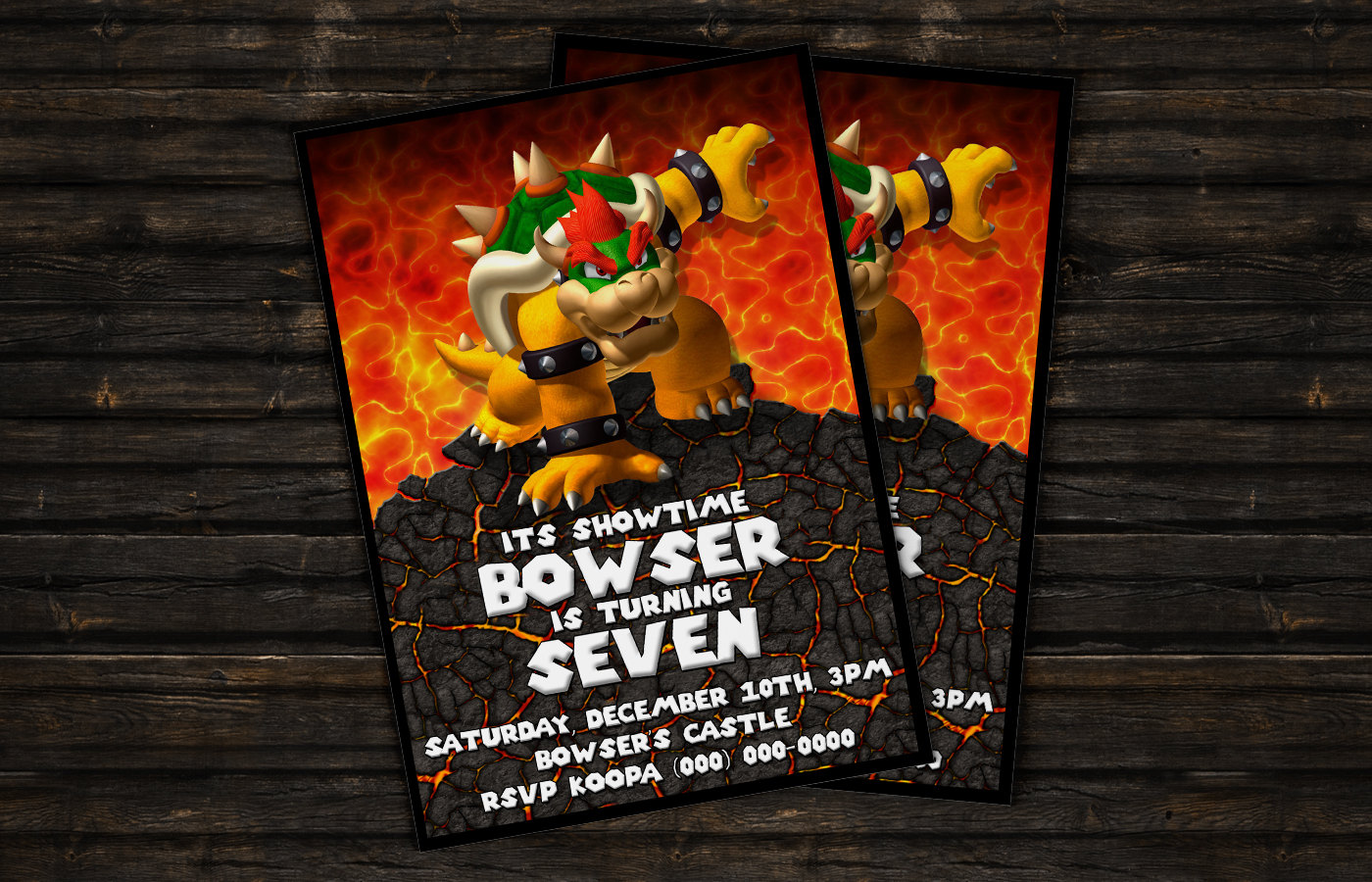 Bowser personalizada tarjeta de la invitación de Super Mario | Etsy