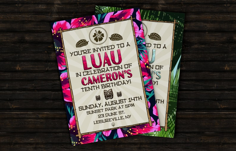 Custom Luau Birthday Party Event Invitation