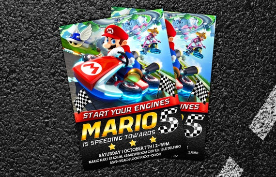 Custom Mario Kart Birthday Invitation Digital Printable Or