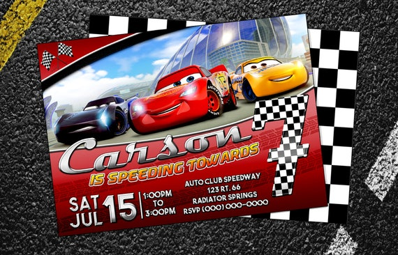 Custom Cars 3 Birthday Invitation Digital Printable Or E Vite
