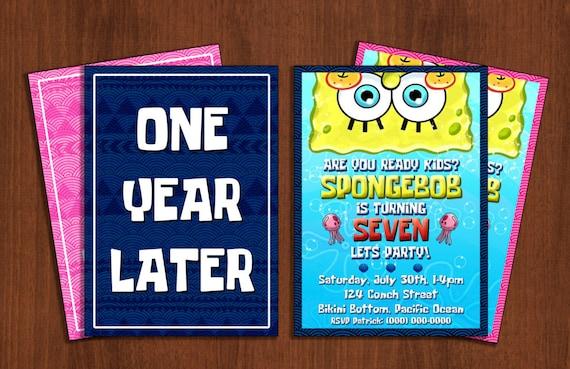 Custom Spongebob Squarepants Birthday Invitation