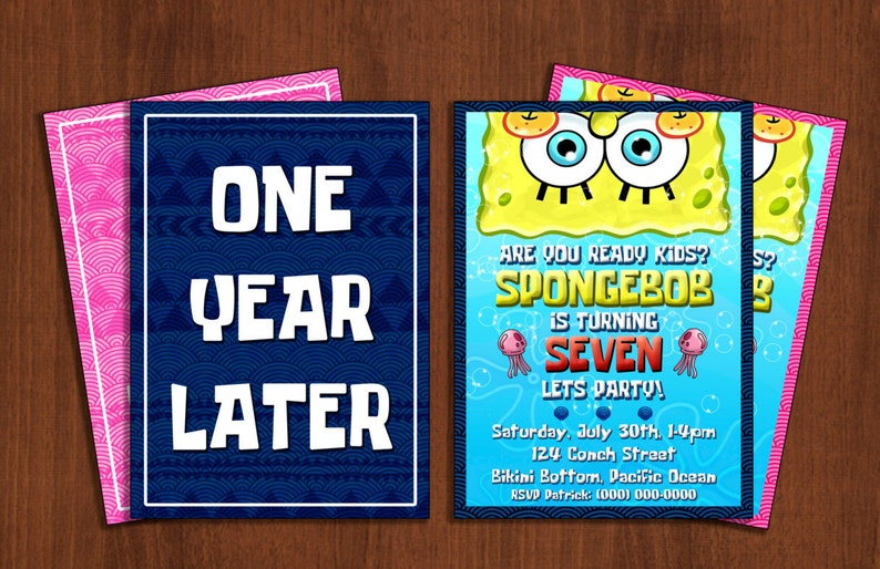 Custom Spongebob Squarepants Birthday Invitation