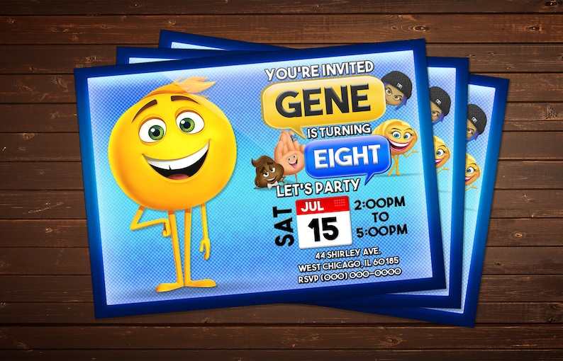 Custom The Emoji Movie Birthday Invitation Digital Printable