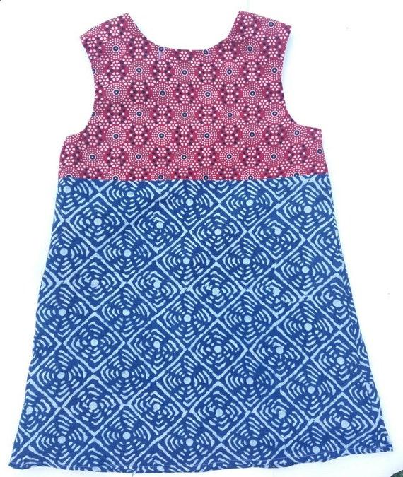 kinder spätester Verkauf Farbbrillanz Block print Fair-Trade, Boho Kleid, Sommerkleid, handgewebt, handgefertigt,  Druck-Kleid, Kleinkind Kleid, Mädchen, kleine sarah