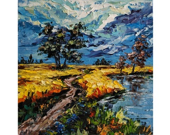Oil painting landscape Miniature Mini Picture Impressionism Nature Palette knife Field Bay Steppe Canvas Paintings 15x15 cm Free shipping!