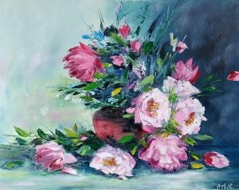 "oil painting, still life ""Peonies""."