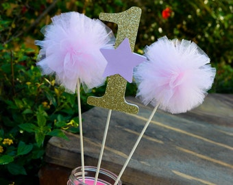 Pink and Gold Star Centerpieces Twinkle Twinkle Little Star Centerpieces Twinkle Twinkle Little Star First Birthday Pink Tulle Pom Pom Wands