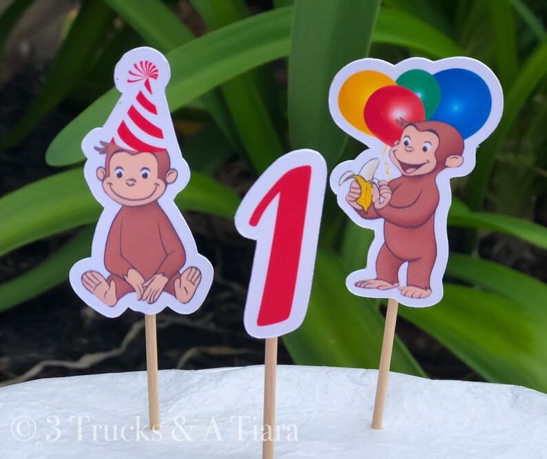 Curious George Cupcake Toppers Curious George First Birthday Decorations Curious George Party Monkey Cupcake Toppers Curious George Cake