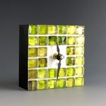 Clock Green Glass Art Handmade, Modern Desk Clock, Small Unique Clocks, Table Clock, Unique Gift, Colorful Clocks by LNCRCreative