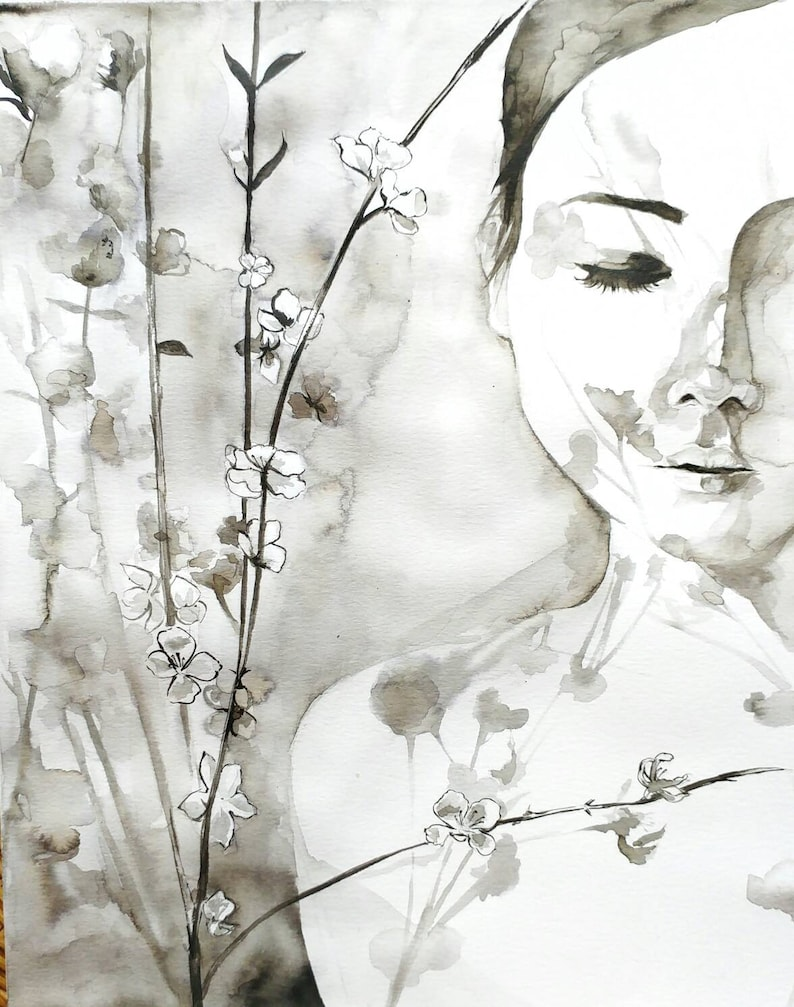 Original watercolor of a mysterious girl with flower shadow tattoed on her  skin  Painting of Flower Cherry Blossom shadow on skin