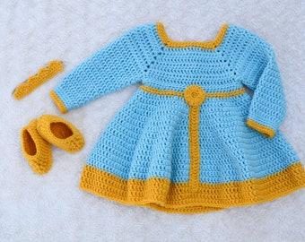3 pcs Princess Merida Brave Crochet (Dress Shoes Headband Crown) Costume Set
