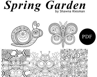 Northwest Coast Art Spring Garden Colouring Set - Printable PDF Download - 5 pages