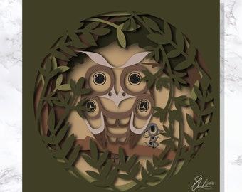 Owl and friend - Fine Art Print - Open Edition - Northwest Coast Art