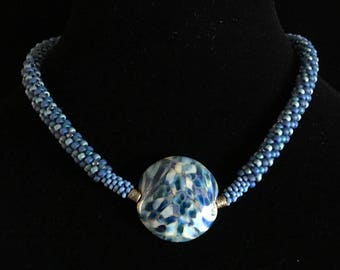 Beaded Kumihimo Necklace in Shades of Blue and Teal with Lampwork Focal Bead