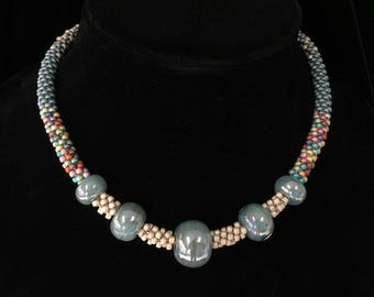 Kumihimo Beaded Necklace with Sea Foam Hand Blown Marbles