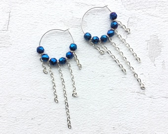 Hoops with beads, hoops with chain, chain earrings, JoolieJooles, hoops earrings, earrings, earrings uk, quirky earrings, handmade earrings