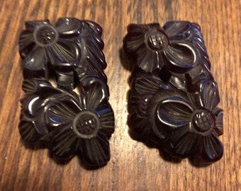 Antique Bakelite Fur Shoe Clip Black and Coral Carved Flowers