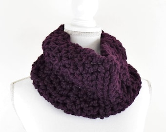 Chunky Knit Cowl Scarf / soft single loop scarf neckwarmer / eggplant / Trees & Arrows cowl / ready to ship