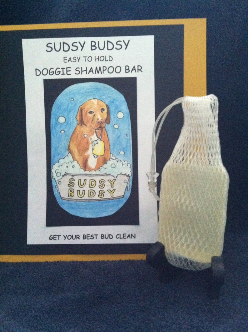 Sudsy Budsy Easy To Hold Doggie Shampoo Bar With Net image 0