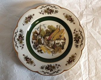 Ascot Service Plate by Wood and Sons England Villiage Scene