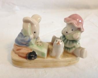 "Mice on Phones with Dog Ceramic Figurine 2"" Tall"