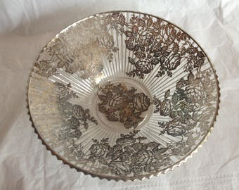 Glass Silver Overlay Serving Bowl Rose Pattern