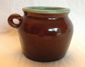 Brown and Turquoise Miniature Stoneware Bean Pot Crock