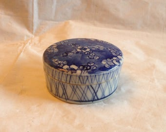 Vintage Chinese or Japanese Porcelain Blue and White Trinket Box